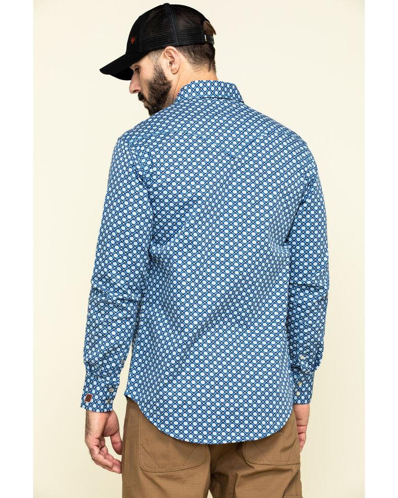 Rock & Roll Denim Men's FR Printed Medallion Twill Long Sleeve Work Shirt - Big , Blue, hi-res
