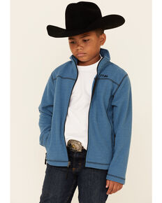 Powder River Outfitters Boys' Blue Honeycomb Performance Zip-Front Fleece Jacket , Blue, hi-res