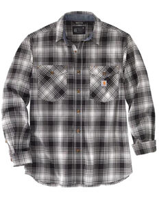 Carhartt Men's Grey Midweight Plaid Long Sleeve Button-Down Work Shirt Jacket , Grey, hi-res