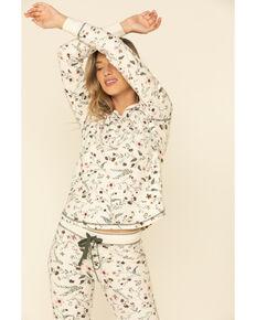 PJ Salvage Women's Glamping Life Long Sleeve Top, Ivory, hi-res