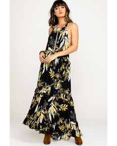 1ab715528c Free People Women's Black Anita Floral Maxi Dress