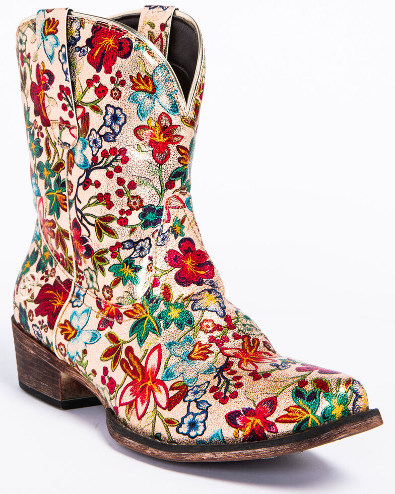 Roper Women's Ingrid Floral Western Booties   Snip Toe by Roper