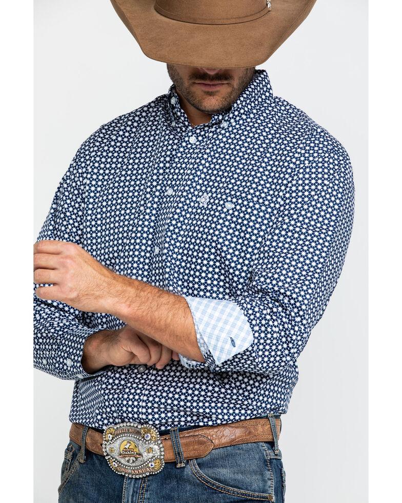 George Strait By Wrangler Navy Geo Print Long Sleeve Western Shirt , Navy, hi-res