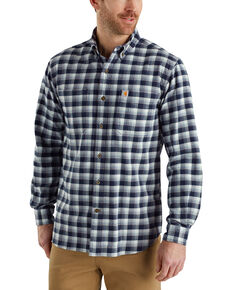 Carhartt Men's Rugged Flex Hamilton Plaid Long Sleeve Work Shirt , Navy, hi-res