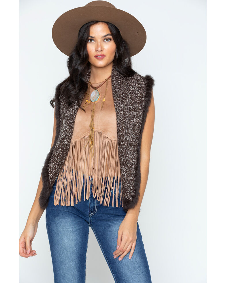 Cripple Creek Women's Crochet Knit Rabbit Fur Trim Vest, Chocolate, hi-res