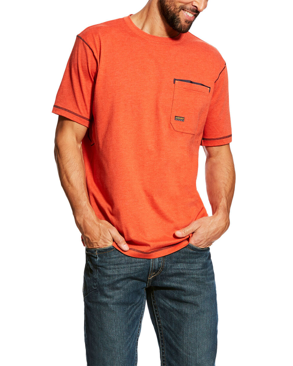 Ariat Men's Volcanic Heather Rebar Short Sleeve Work T-Shirt - Tall , Orange, hi-res