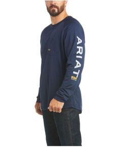 Ariat Men's Navy Rebar Heat Fighter Long Sleeve Work Pocket T-Shirt , Navy, hi-res