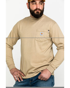 Carhartt Men's Flame-Resistant Force Long Sleeve Work T-Shirt , Beige/khaki, hi-res