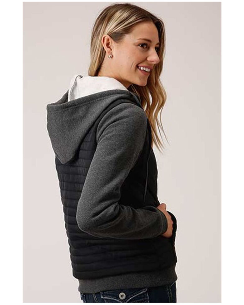 Roper Women's Charcoal Quilted Drawstring Hoodie Jacket, Charcoal, hi-res