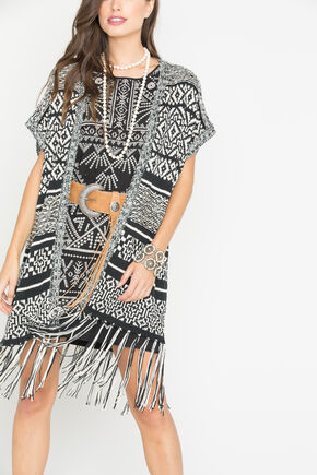 Miss Me Women's Black and White Print Fringe Cardigan , Black, hi-res