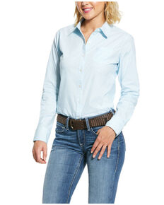 Ariat Women's Light Blue Kirby Stretch Long Sleeve Western Shirt , Blue, hi-res