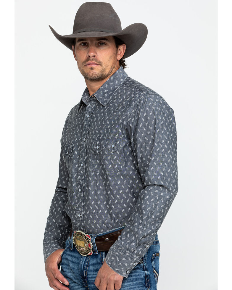 Rock & Roll Denim Men's Chambray Print Long Sleeve Western Shirt , Charcoal, hi-res
