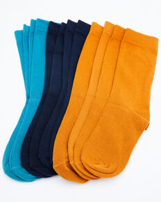 Shyanne Women's Basic Crew Socks - 6 Pack, Multi, hi-res