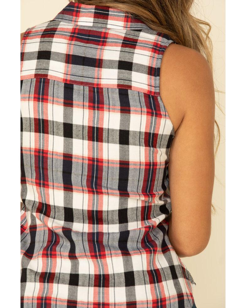 Shyanne Women's Navy Plaid Sleeveless Western Shirt, Navy, hi-res