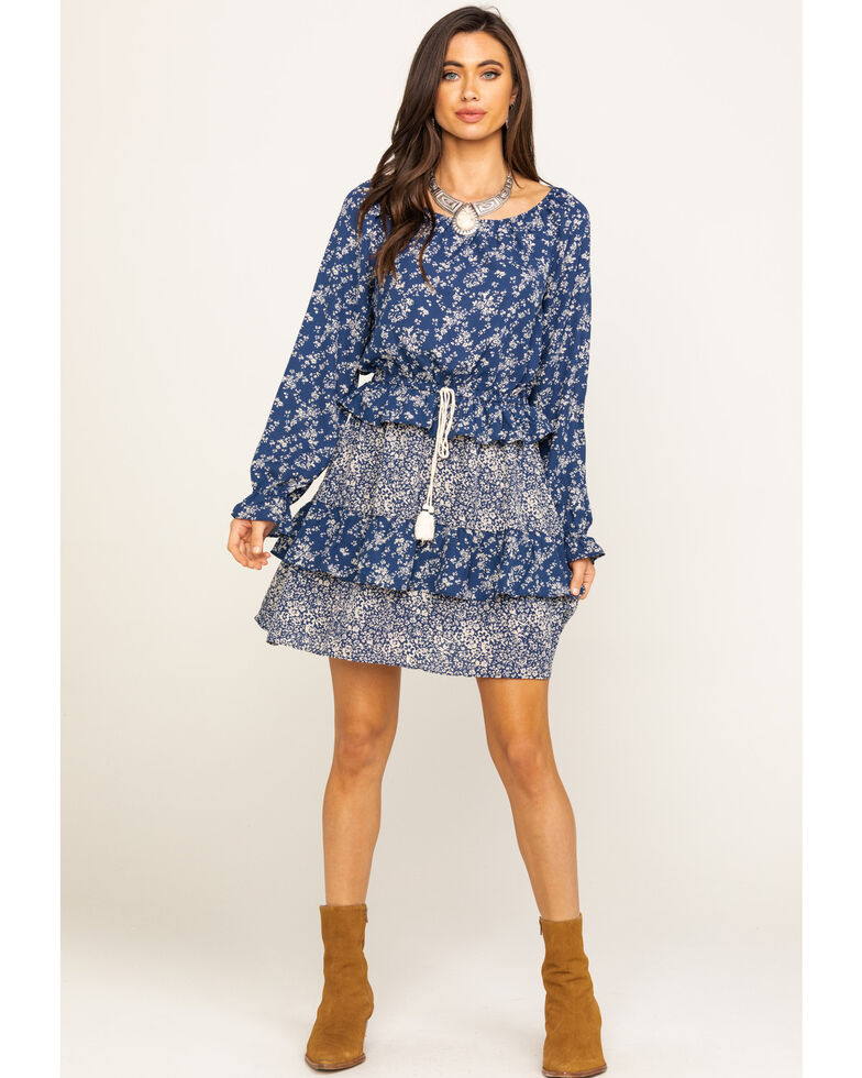 Wrangler Women's Navy Ditsy Floral Peasant Dress, Navy, hi-res