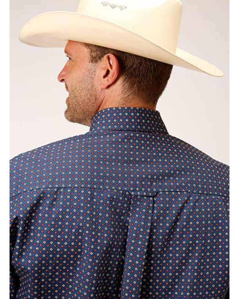 Roper Amarillo Men's Heritage Blue Foulard Geo Print Long Sleeve Western Shirt , Blue, hi-res