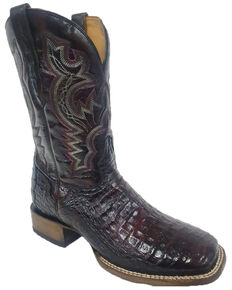 El Dorado Men's Caiman Western Boots - Wide Square Toe, Black Cherry, hi-res