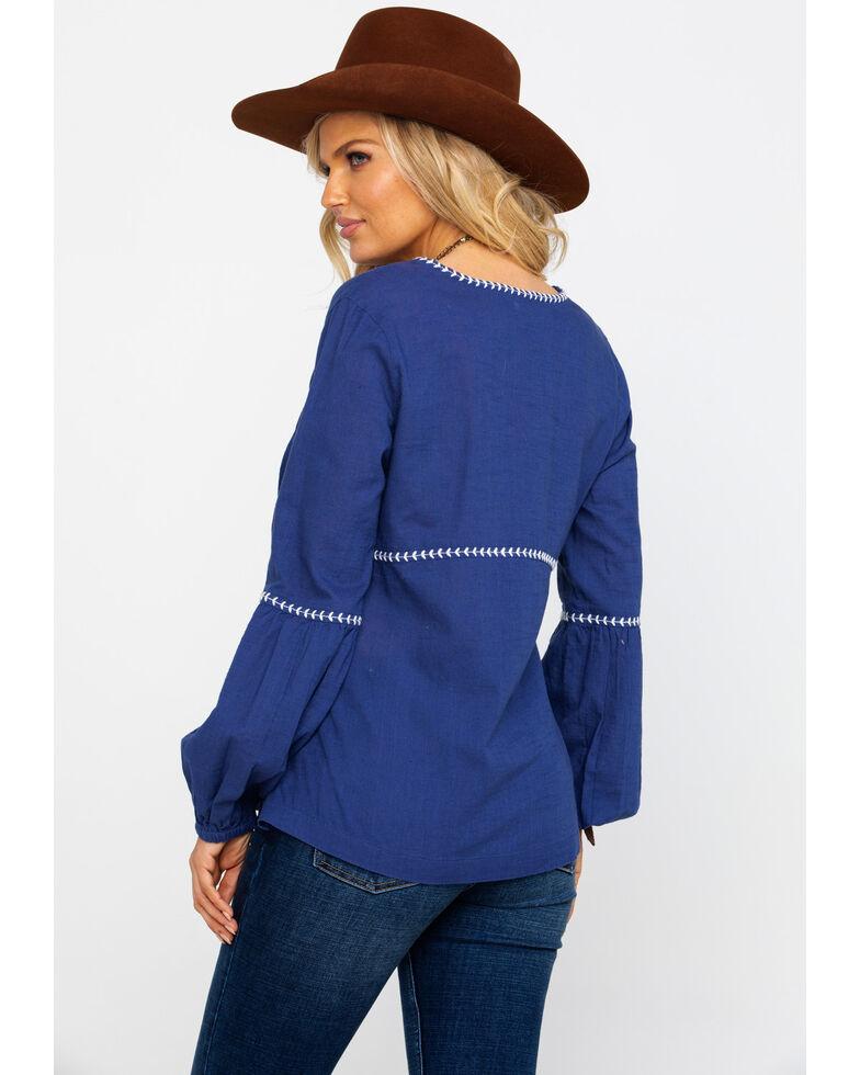 Shyanne Women's Peasant Tassel Long Sleeve Top , Navy, hi-res