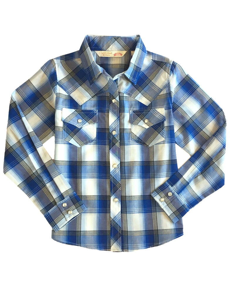 Ely Walker Girls' Blue Plaid Long Sleeve Western Shirt , Blue, hi-res