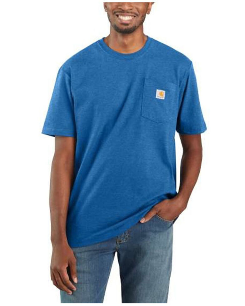 Carhartt Men's Medium Blue Loose Fit Pocket Short Sleeve Work T-Shirt - Big , Medium Blue, hi-res