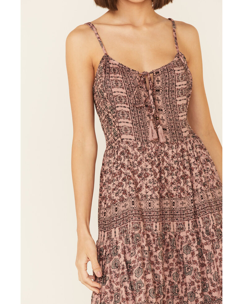 Angie Women's Tie-Back Patterned Tiered Dress, Rose, hi-res