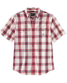 Carhartt Men's Ruby Chambray Plaid Loose Fit Midweight Short Sleeve Button-Down Work Shirt , Ruby, hi-res