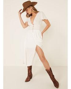 Beyond The Radar Women's Cream Lace Button Dress, Cream, hi-res