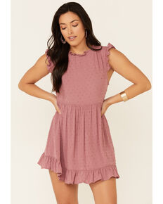 Luna Chix Dobby Dot Babydoll Dress, Mauve, hi-res