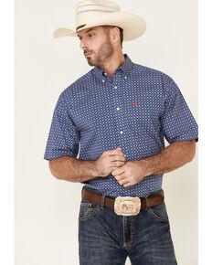 Ariat Men's Bela Stretch Geo Print Short Sleeve Button-Down Western Shirt , Blue, hi-res
