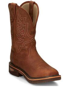 Justin Men's Resistor Waterproof Western Work Boots - Soft Toe, Russett, hi-res