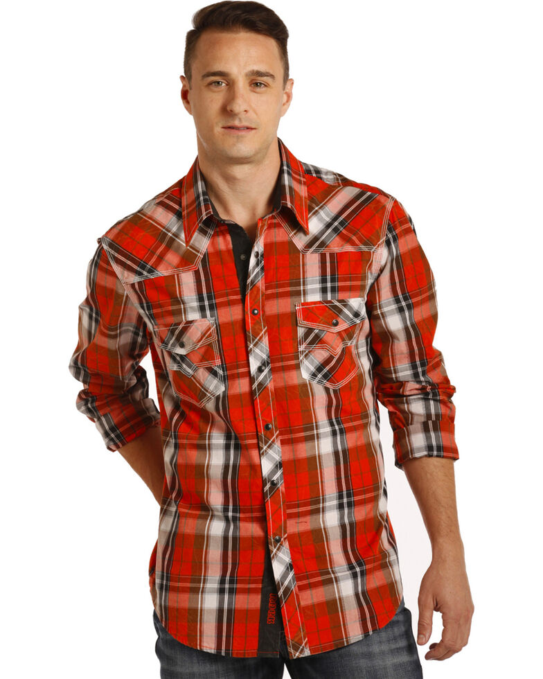 Rock & Roll Cowboy Men's Red Crinkle Washed Plaid Shirt , Red, hi-res