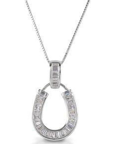 Kelly Herd Women's Baguette Horseshoe Necklace , Silver, hi-res