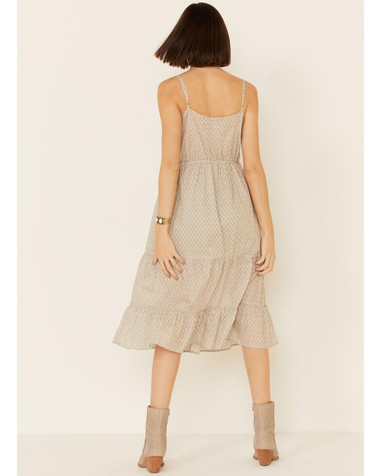 Very J Women's Geo Print Tiered Midi Dress, Tan, hi-res