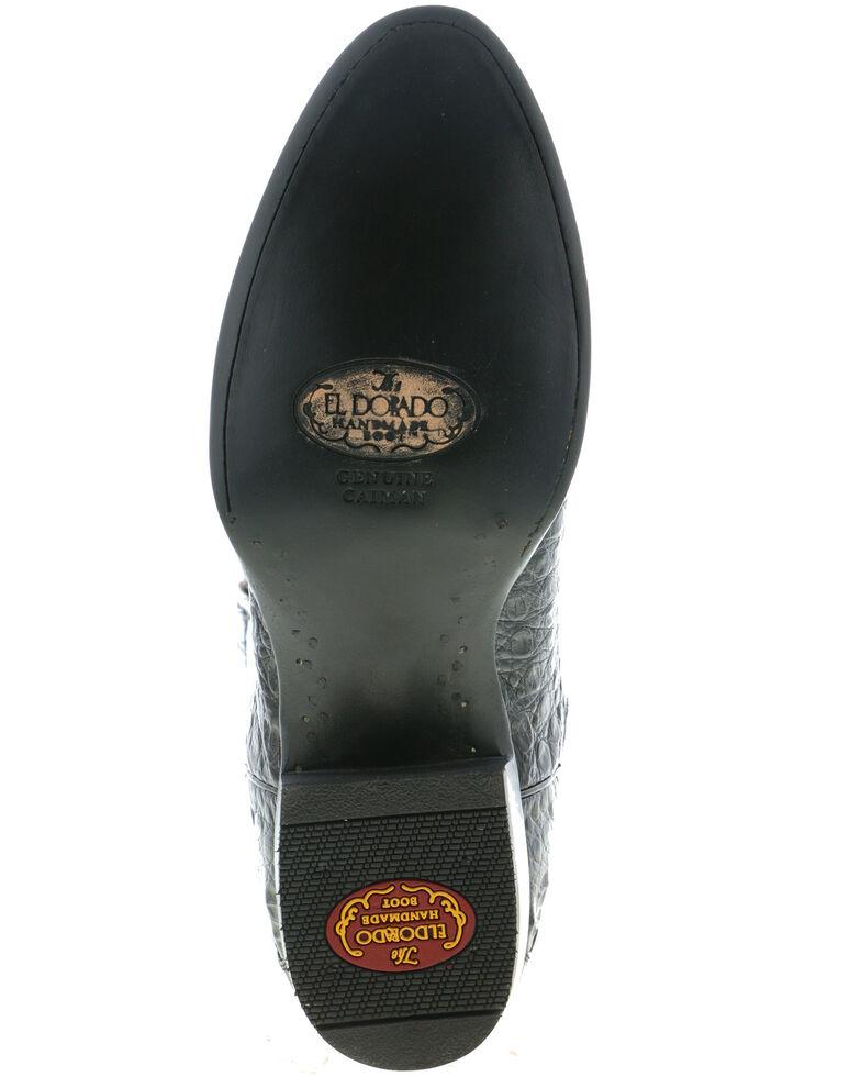 El Dorado Men's Caiman Belly Western Boots - Round Toe, Black, hi-res