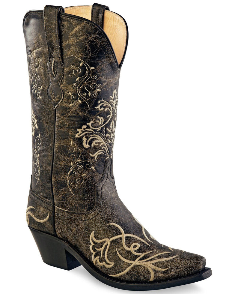 "Old West Women's 12"" Filigree Western Boots - Snip Toe, Grey, hi-res"
