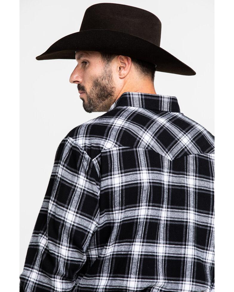 Ely Cattleman Men's Black Large Plaid Long Sleeve Western Flannel Shirt , Black, hi-res