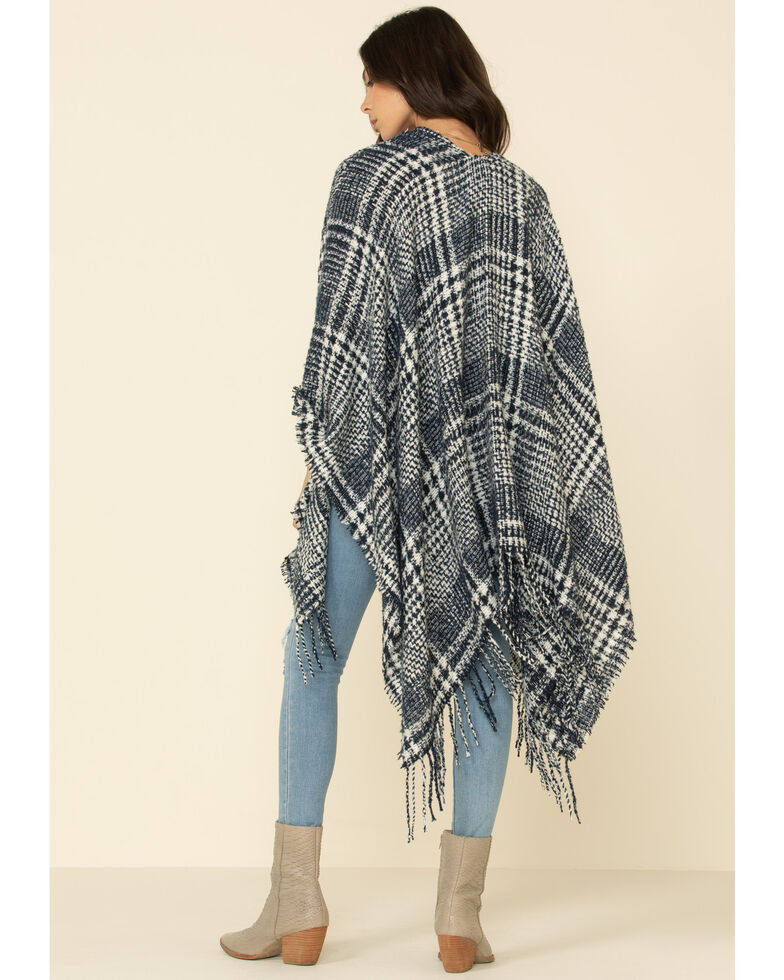 San Diego Hat Co. Women's Plaid Poncho, Navy, hi-res