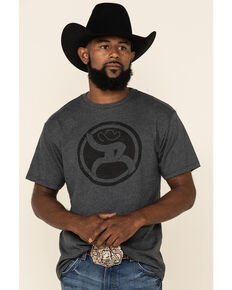 HOOey Men's Charcoal Roughy Logo Tee , Charcoal, hi-res