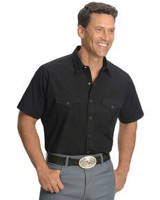 Ely Cattleman Men's Short Sleeve Solid Western Shirt - Big & Tall , Black, hi-res