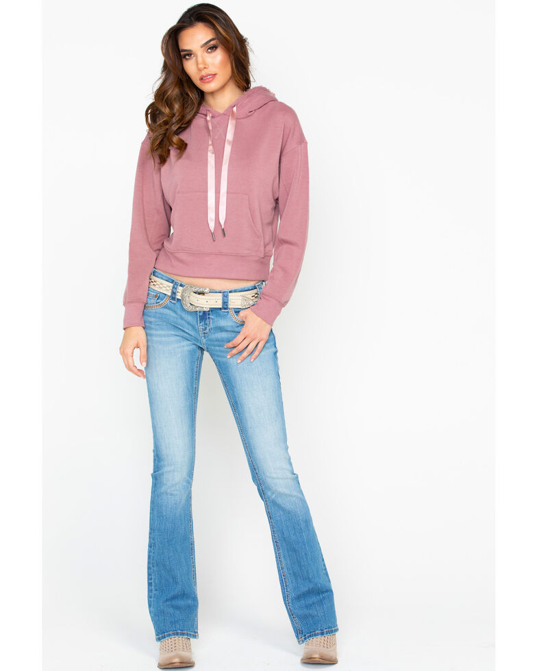 Others Follow Women's Soft Satin Pullover Hoodie , Mauve, hi-res