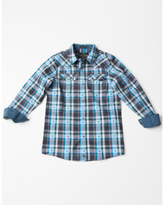 7d26c157 Cody James Boys Bushwacker 2.0 Sawtooth Long Sleeve Western Shirt , Blue,  hi-res