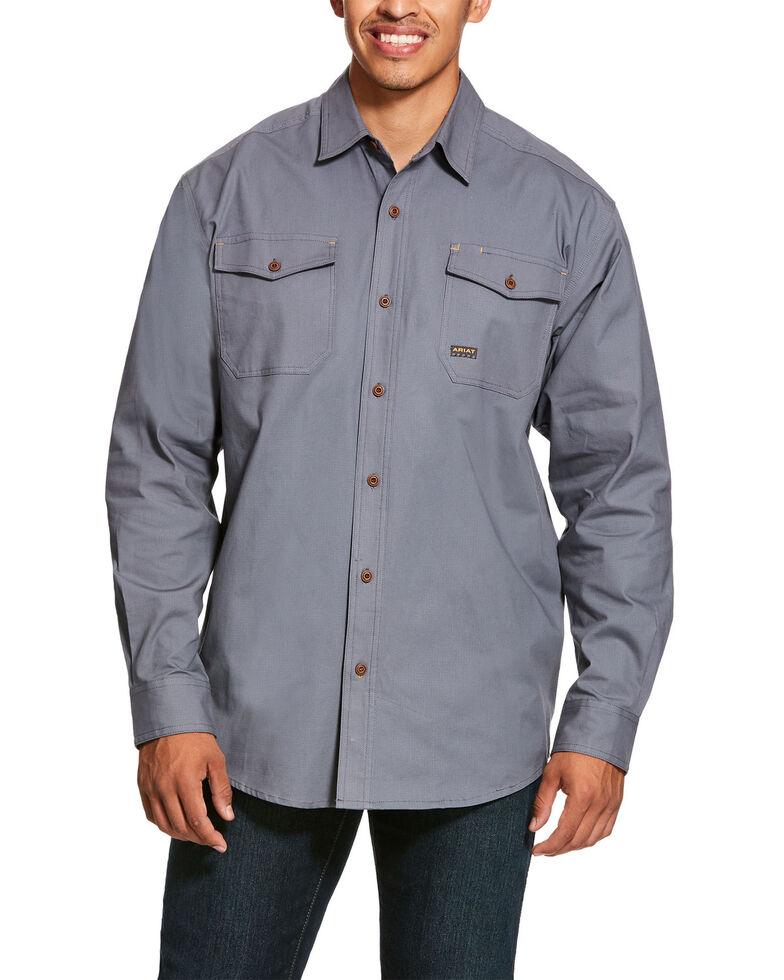 Ariat Men's Steel Rebar Made Tough Durastretch Long Sleeve Work Shirt - Big & Tall , Steel, hi-res