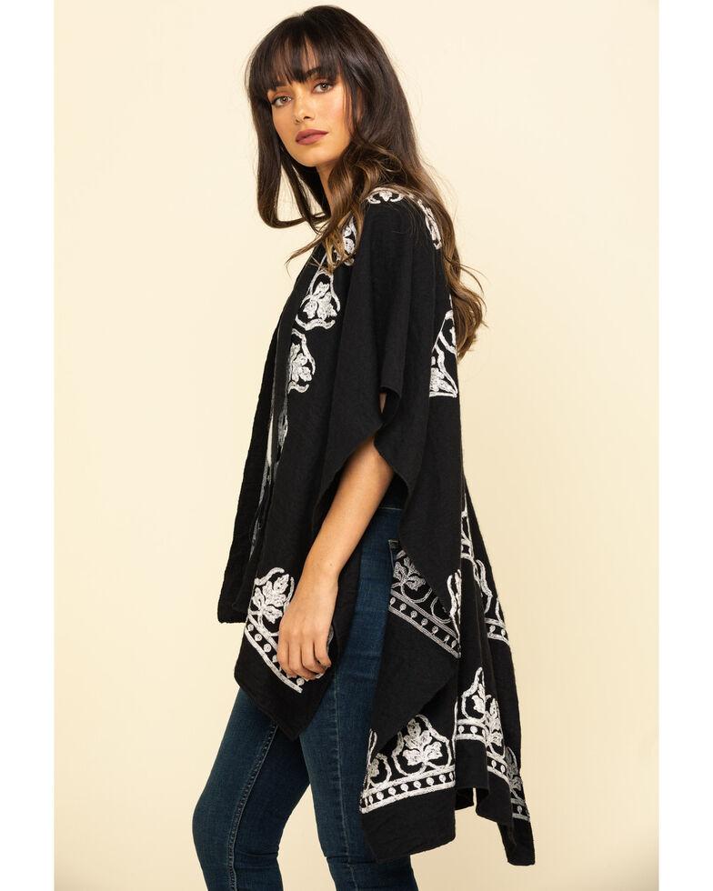 Shyanne Women's Black Embroidery Shawl, Black, hi-res