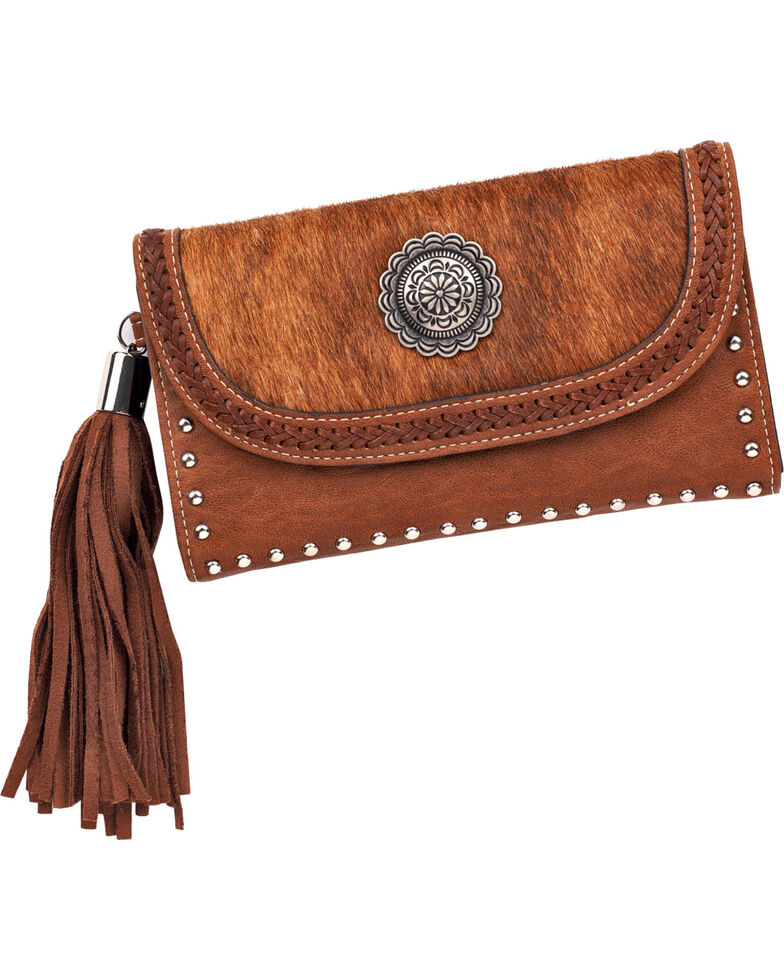 Blazin Roxx Women's Ella Faux Calf Hair Flap Wallet, Brown, hi-res