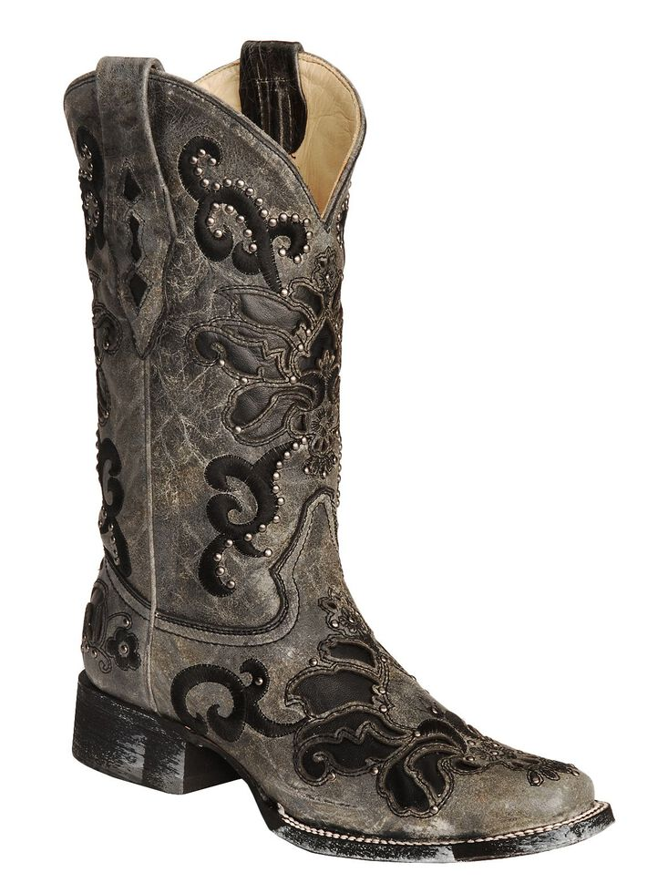 Corral Studded Leather Inlay Cowgirl Boots - Square Toe, Black, hi-res