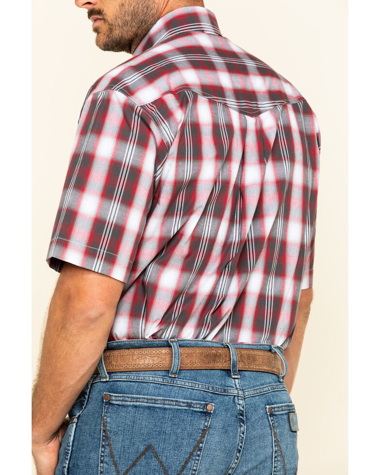 Roper Men's Amarillo Red Barn Plaid Short Sleeve Western Shirt, Red, hi-res
