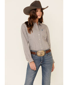 Cinch Women's Multi Striped Long Sleeve Western Shirt , Multi, hi-res