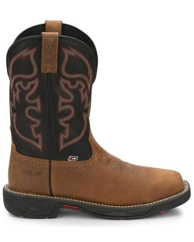 Justin Men's Rush Western Work Boots - Soft Toe, Brown, hi-res