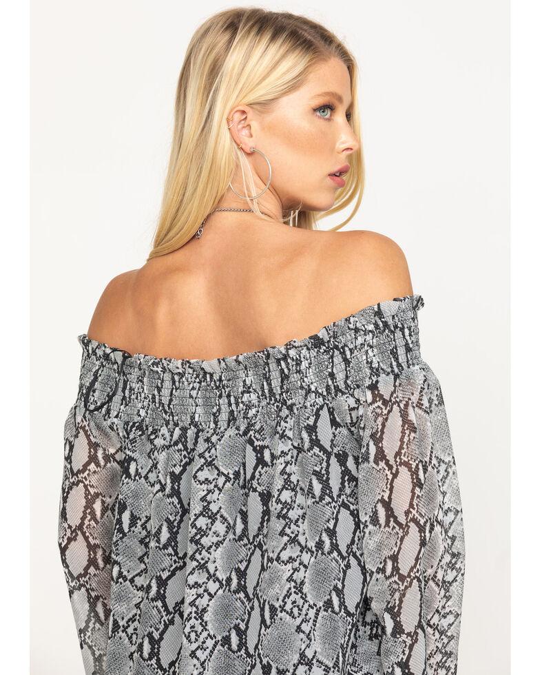 Miss Me Women's Off The Shoulder Smocked Snake Print Top, Grey, hi-res