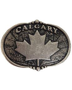AndWest Vintage Silver Calgary Maple Leaf Belt Buckle, Silver, hi-res
